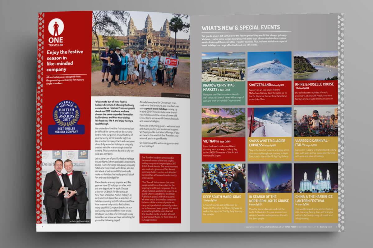 Sample intro spread from One Traveller brochure